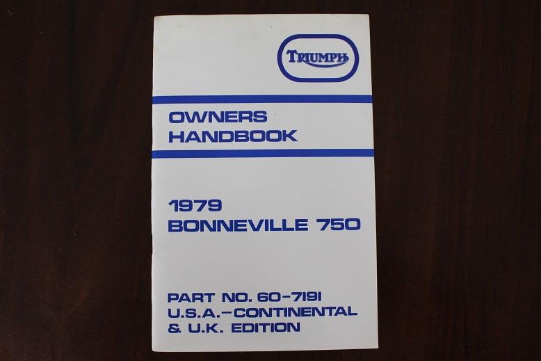 TRIUMPH 1979 BONNEVILLE 750 owner's handbook
