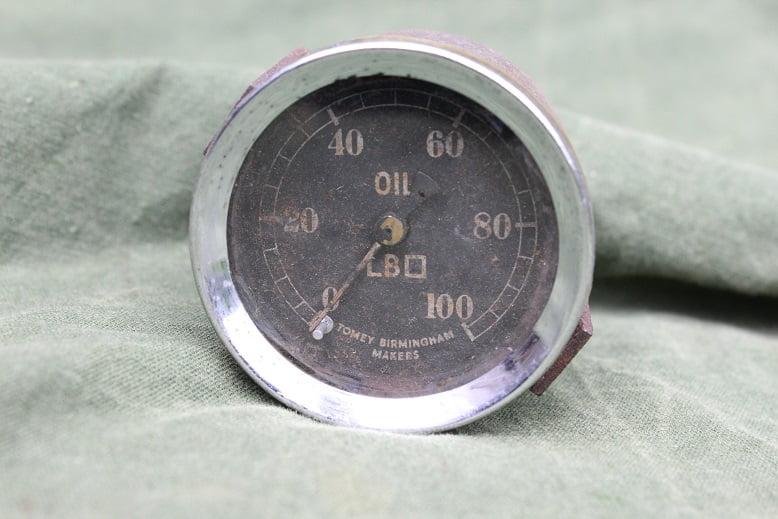 TOMEY BIRMINGHAM 100 LBS olie druk meter oil pressure gauge oel druckmesser 1930's ??