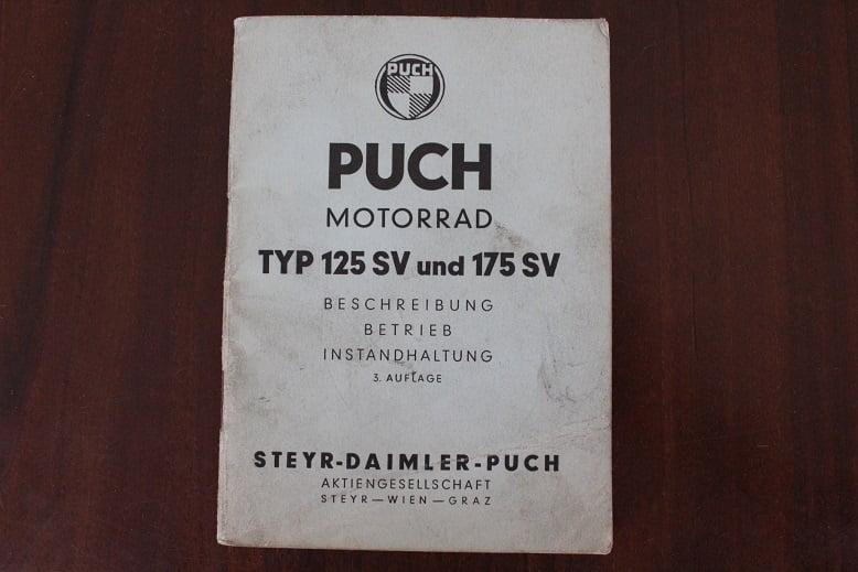 PUCH motorrad typ 125SV 175SV 1954  betriebs anleitung 125 SV 175 SV