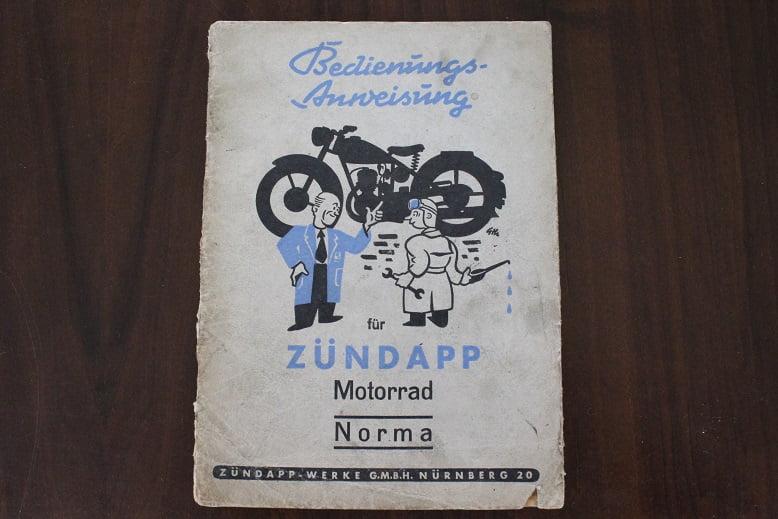 ZÜNDAPP motorrad NORMA 1952 bedienungs anweisung