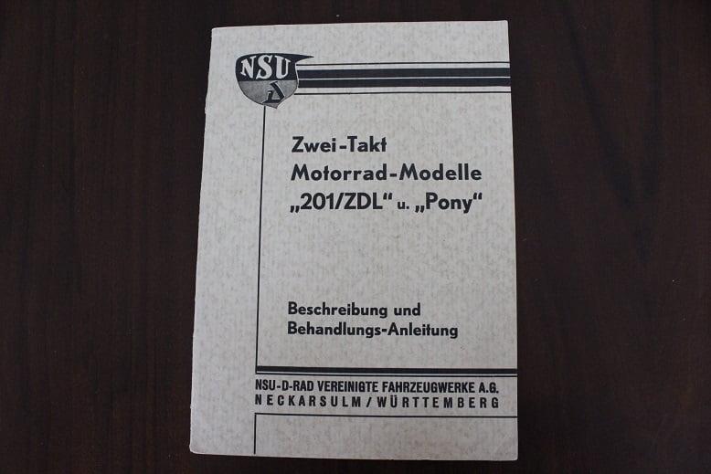 NSU 201 ZD ZDL PONY 1934 beschreibung und behandlungs anleitung