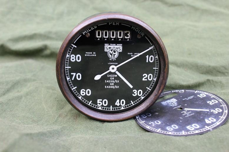 SMITHS S433 80 miles chronometric speedometer mijlen teller WOII WD