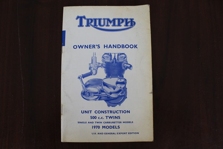 TRIUMPH unit construction 1970 500 cc twins owner's handbook instructie boek