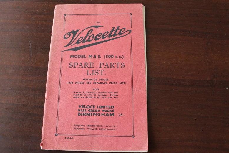 VELOCETTE MSS 500 cc 1938 ? spare parts list