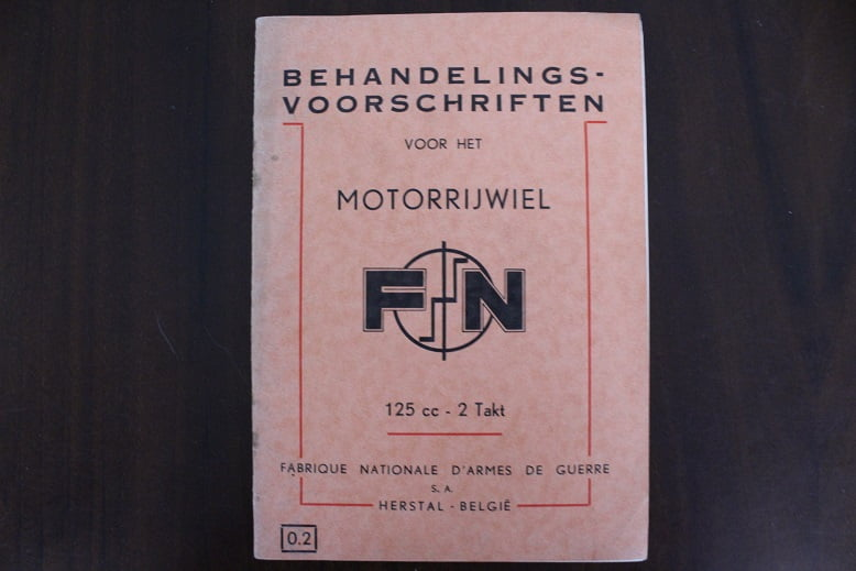 F.N. 125 cc tweetakt instructie boekje 1950's owner's manual FN