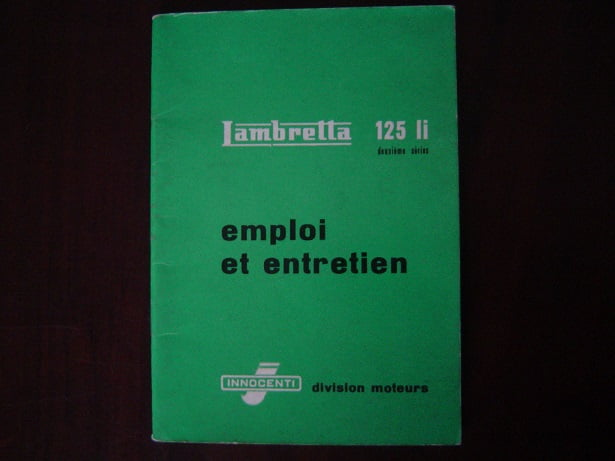 LAMBRETTA 125 Li emploi et entretien 1959