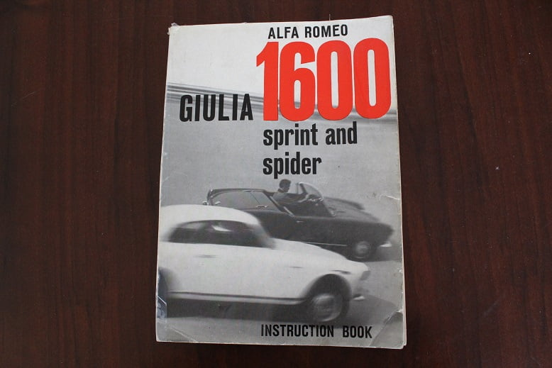 ALFA GIULIA 1600 Spider & Sprint 1962 instruction book /  owner's manual