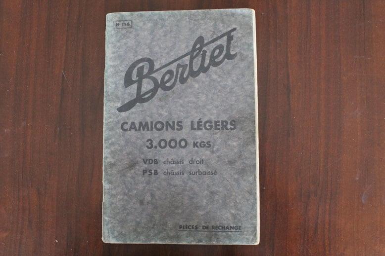 BERLIET Camions légers 3000 Kgs VDB chassis PSB chassis 1934 pieces de rechance