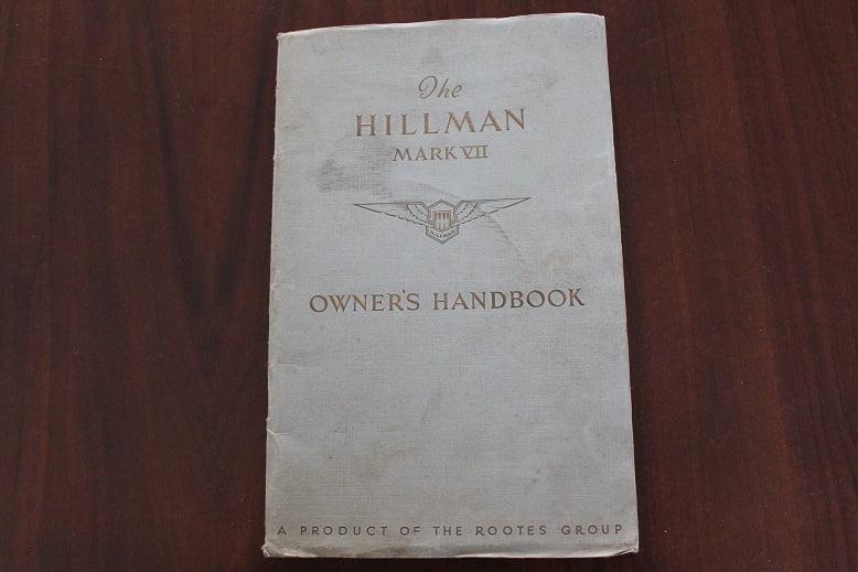 HILLMAN MARK VII 1953 owner's handbook
