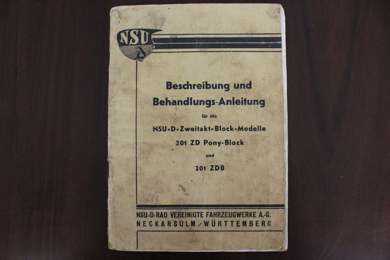 NSU 201 Z  PONY block 201 ZB 1936  beschreibung behandlung owner's manual instructie boek