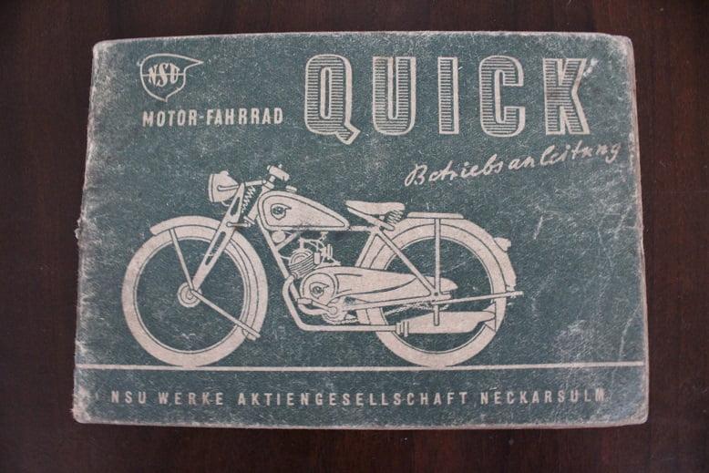NSU QUICK 98 cc motorfahrrad betriebs anleitung 1940 ?? owner's manual