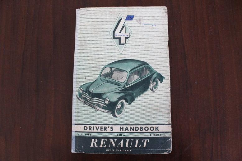 RENAULT 4 1956 750 cc type R 1062 drivers handbook  instructie boekje