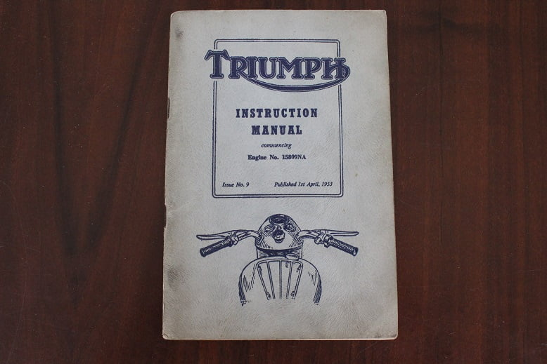 Triumph 5t T100 Tr5 6t 1953 Instruction Manual Handbuch