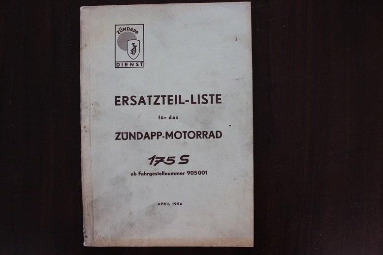 ZÜNDAPP 175S 1956 motorrad ersatzteil liste onderdelen boek parts list 175 S