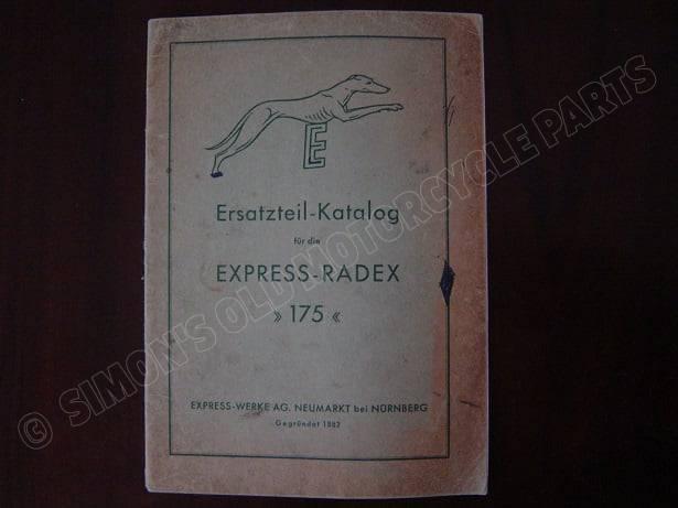EXPRESS RADEXX 175 1952 ersatzteil katalog onderdelen boek parts catalog