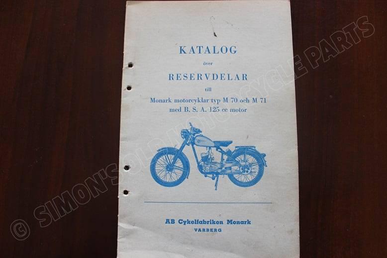 MONARK M70 M71 met BSA 125 cc motor onderdelen boek parts catalog 1951 ? reservdelar