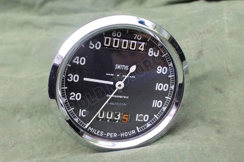 SMITHS S467/227/N chronometric 120 Mph speedometer mijlenteller tacho TRIUMPH ??