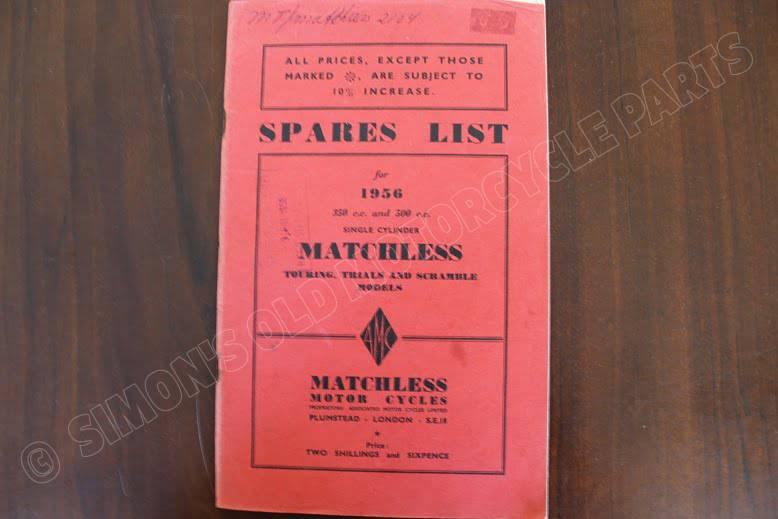 MATCHLESS 1956 350 cc & 500 cc singles spare parts list G3L S CT CS G80 S CS