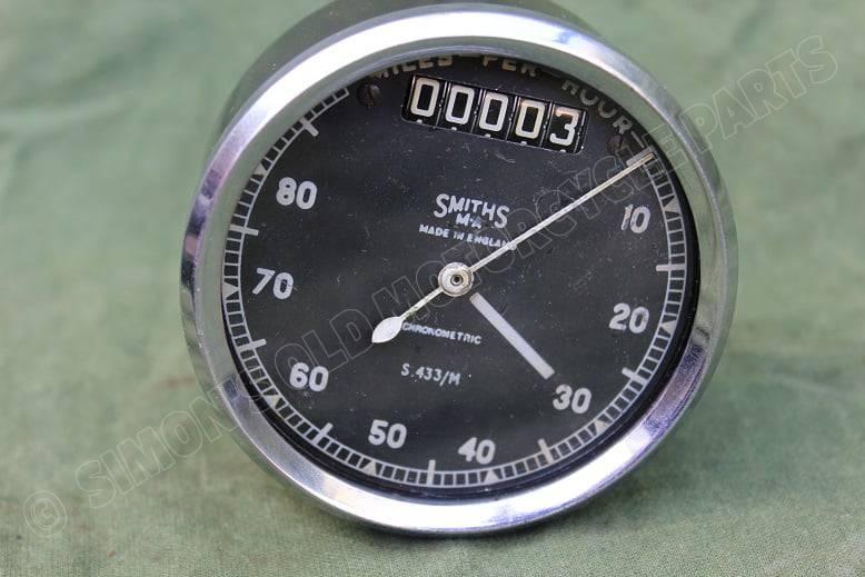 SMITHS S433 M 80 miles chronometric speedometer tacho mijlenteller WD ?? WOII ??