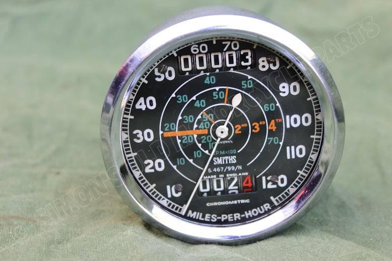 SMITHS S467/99/N 120 Mph chronometric speedometer mijlenteller tacho Triumph ??