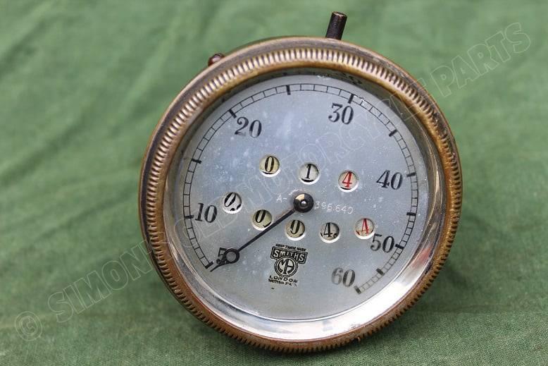 SMITHS 1920 's 60 miles speedometer mijlenteller tacho trip reset