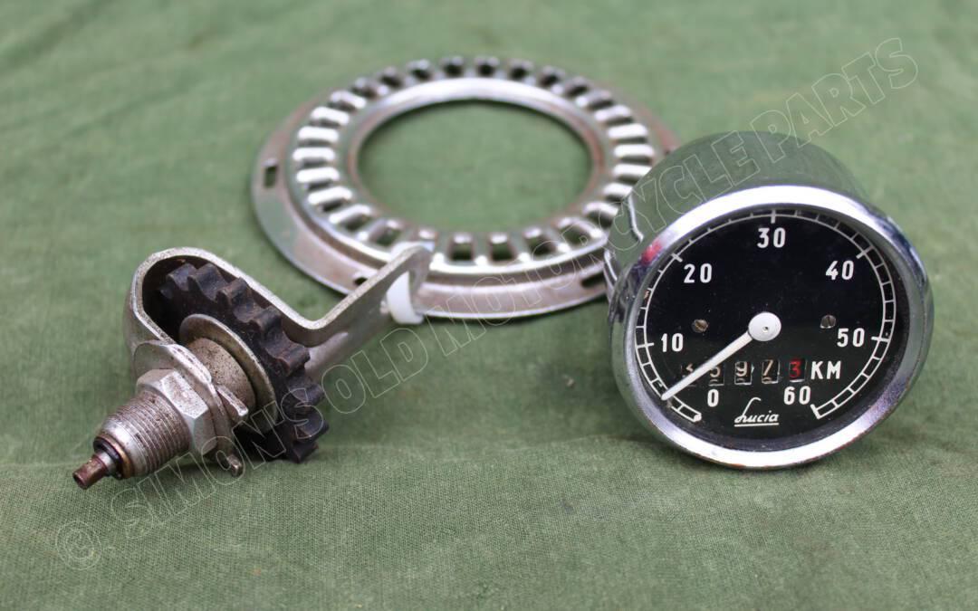 LUCIA 60 KM kilometerteller met aandrijving voor hulpmotor / bromfiets jaren 50 speedometer