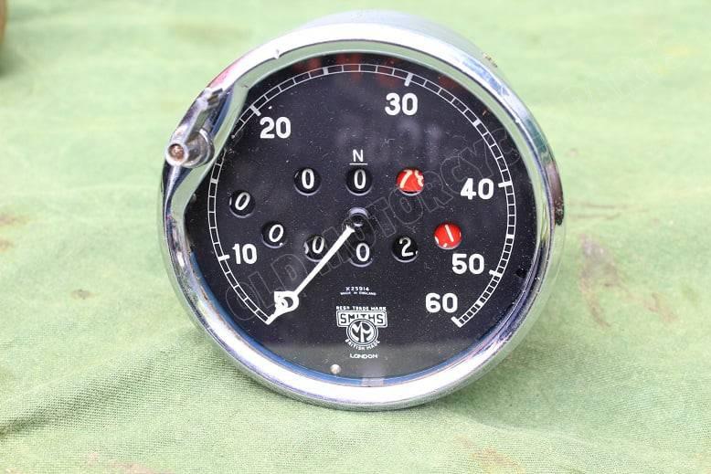SMITHS 45 degrees angled 60 miles speedometer mijlenteller tacho 1930's