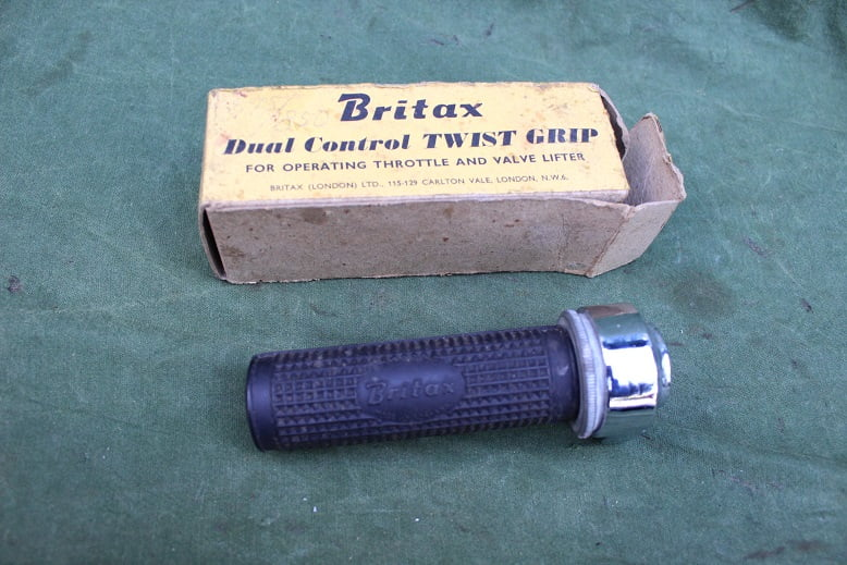 BRITAX gas / decompressie hendel gas / decompression twist grip 1950's cyclemotor