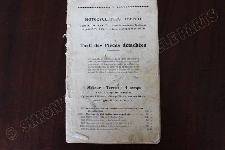 TERROT HLG HST tarief des pieces detachees onderdelen boekje
